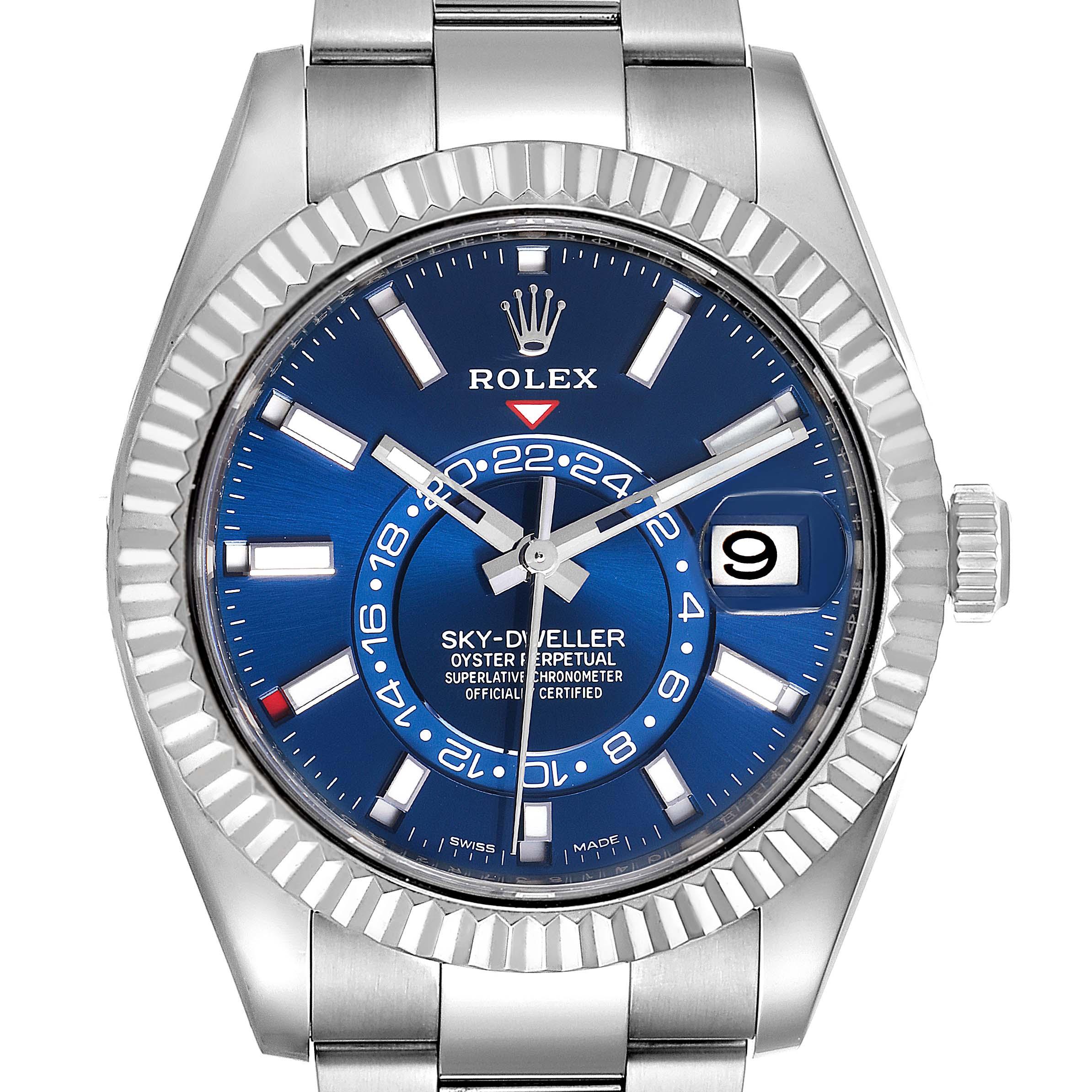 Rolex Sky-Dweller Blue Dial Steel White Gold Mens Watch 326934 Box Card SwissWatchExpo