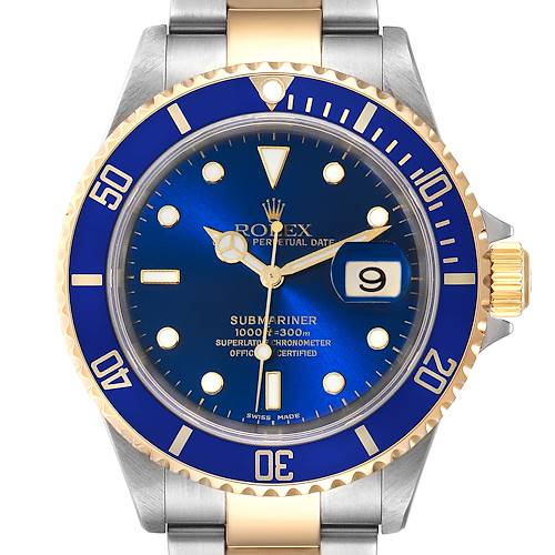 Photo of Rolex Submariner 40mm Blue Dial Steel Yellow Gold Mens Watch 16613