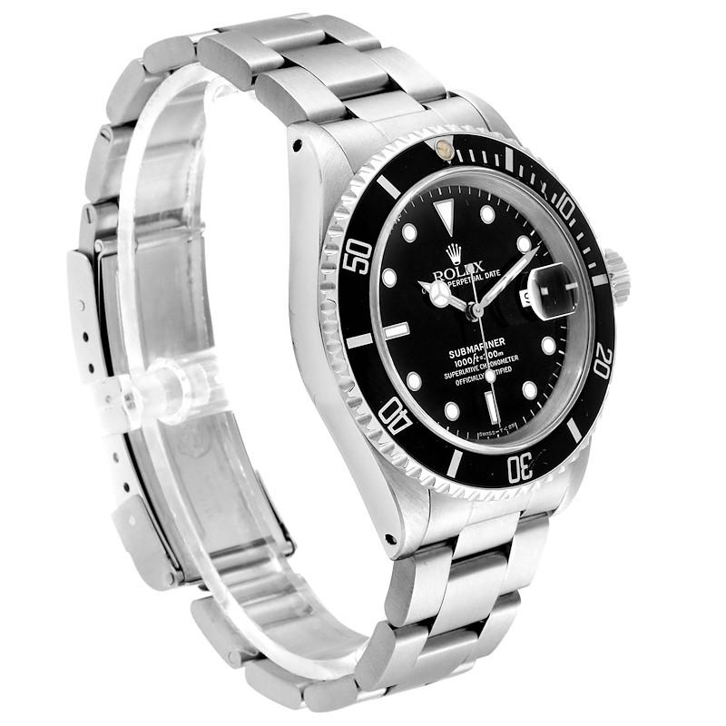 Rolex Submariner Black Dial Stainless Steel Mens Watch 16610 SwissWatchExpo