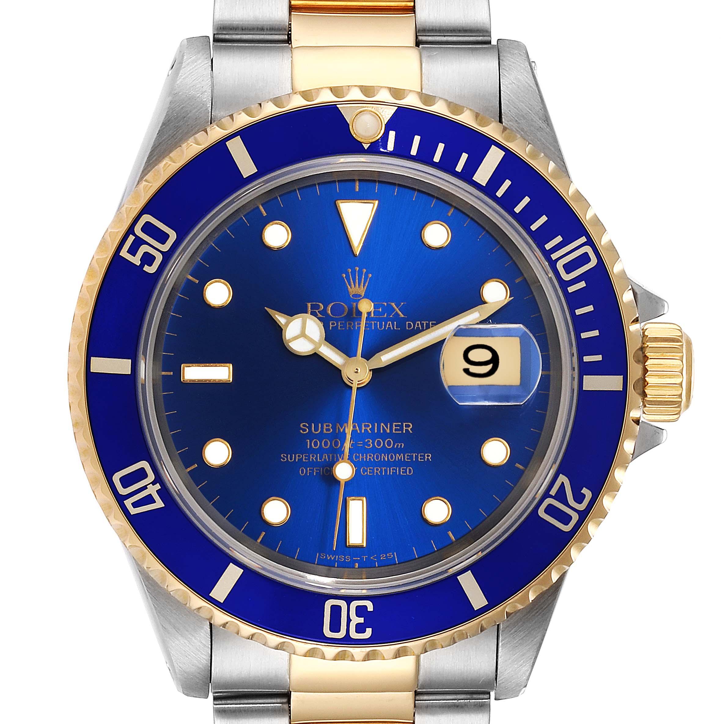 Photo of Rolex Submariner Blue Dial Bezel Steel Yellow Gold Mens Watch 16613