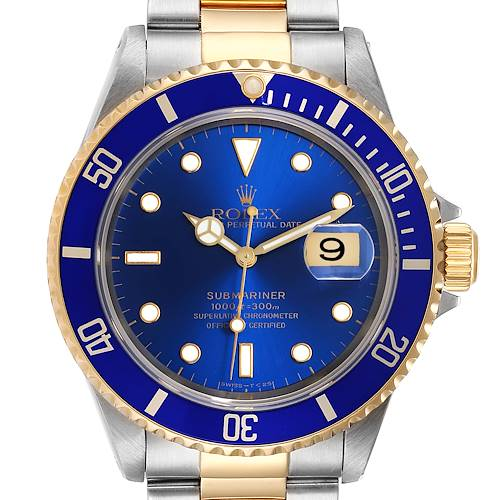Photo of Rolex Submariner Blue Dial Bezel Steel Yellow Gold Mens Watch 16613