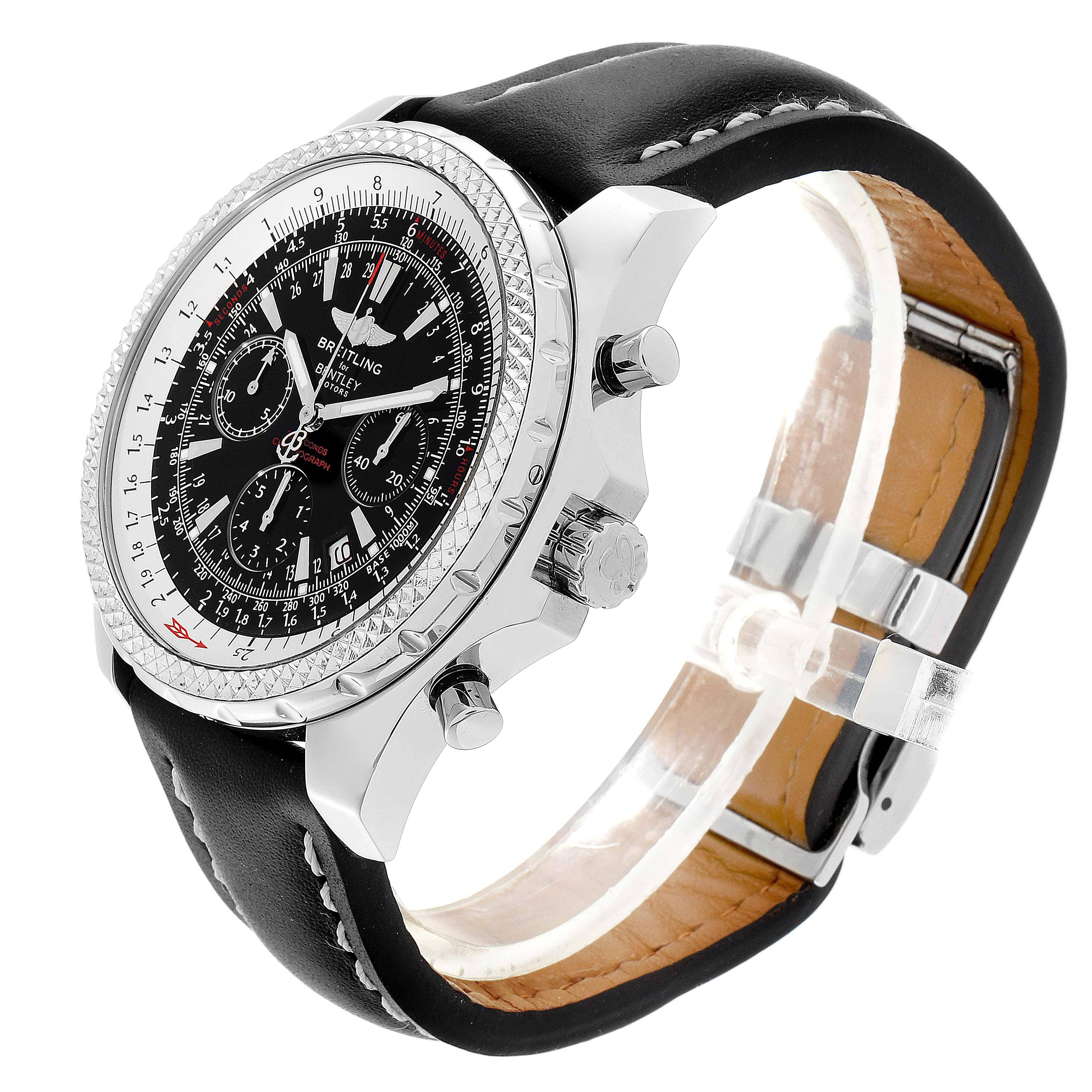 Breitling Bentley Black Dial Chronograph Steel Mens Watch A25362 SwissWatchExpo