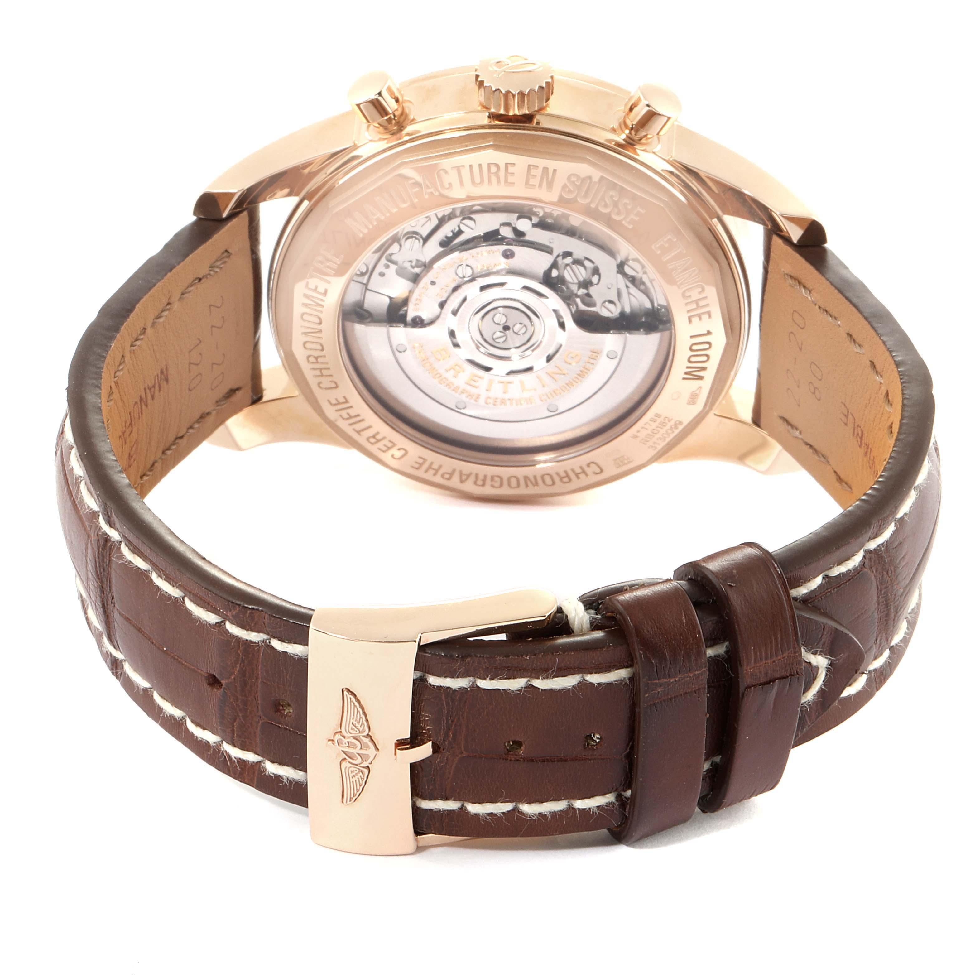 Breitling Transocean 43mm Rose Gold Diamond Mens Watch RB0152 Unworn SwissWatchExpo
