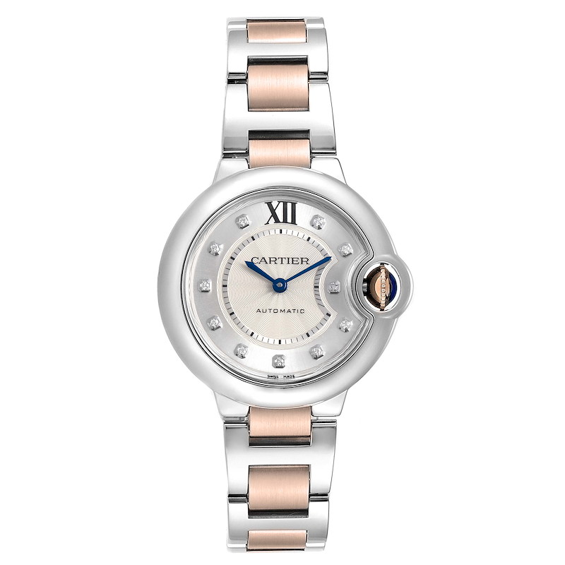 Cartier Ballon Bleu 33 Steel Rose Gold Diamond Ladies Watch WE902061 SwissWatchExpo