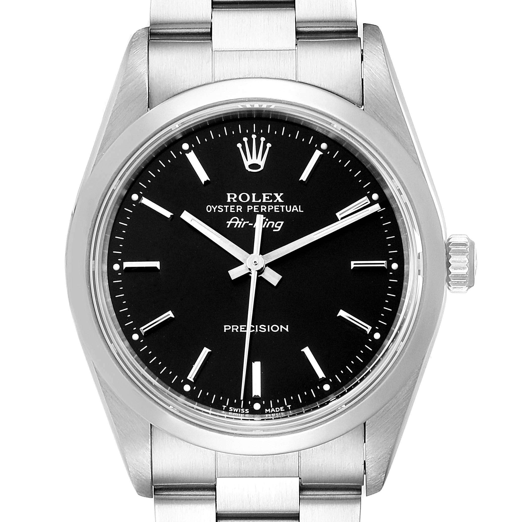 Rolex Air King 34 Black Dial Domed Bezel Steel Mens Watch 14000
