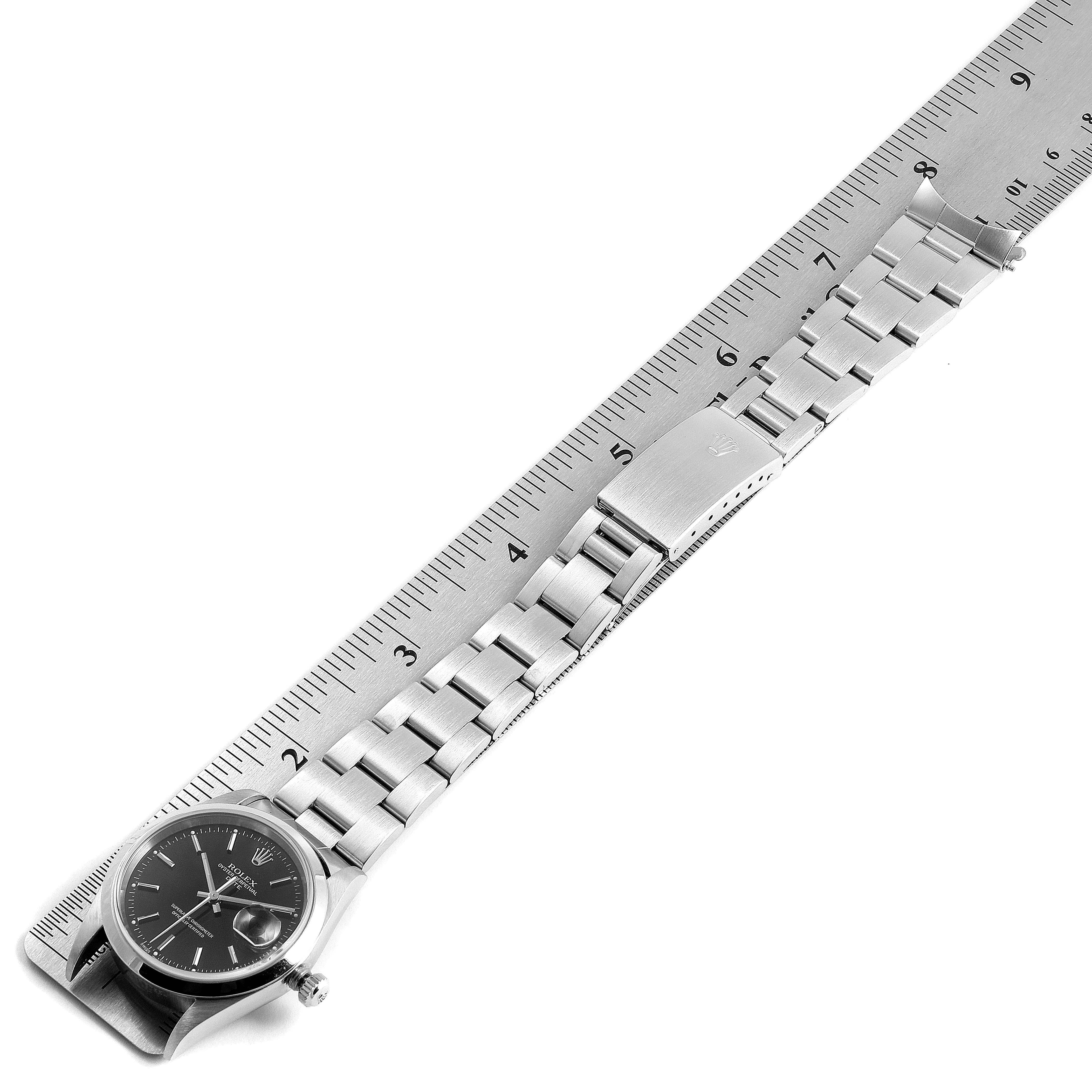 Rolex Date Black Dial Oyster Bracelet Steel Mens Watch 15200 SwissWatchExpo