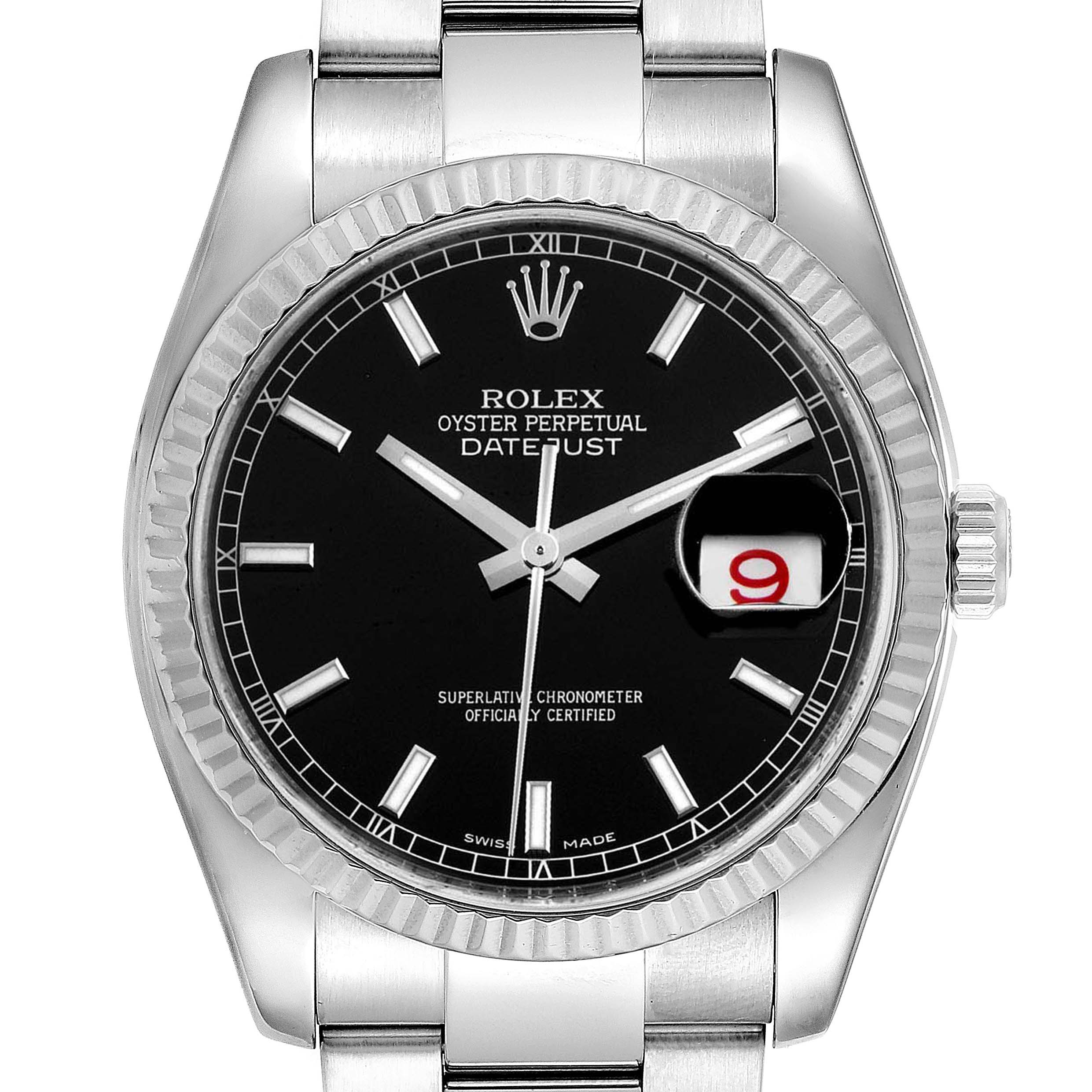 Photo of Rolex Datejust Steel White Gold Black Dial Mens Watch 116234 Box Card