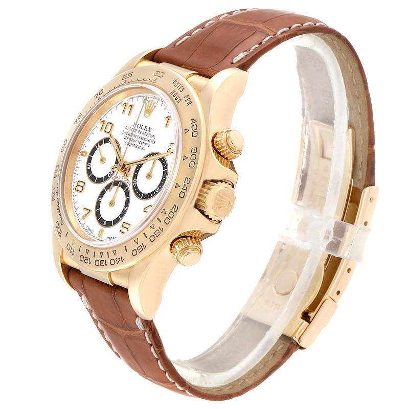 Rolex Daytona Yellow Gold White Dial Chronograph Mens Watch 16518 SwissWatchExpo