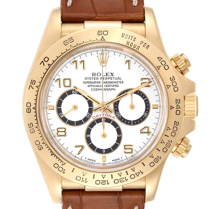Rolex Daytona Yellow Gold White Dial Chronograph Mens Watch 16518 SwissWatchExpo