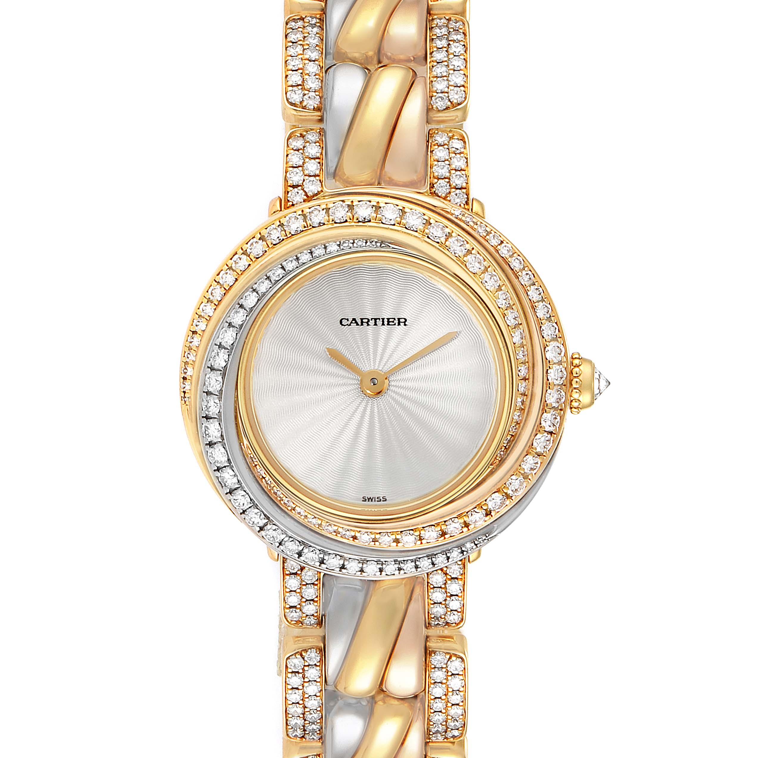 Cartier Trinity White Yellow Rose Gold Diamond Ladies Watch 2357 SwissWatchExpo