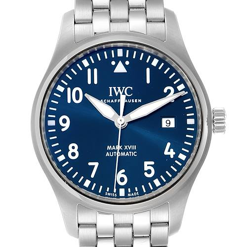 IWC Pilot Mark XVIII Petit Prince Blue Dial Mens Watch IW327014 Papers