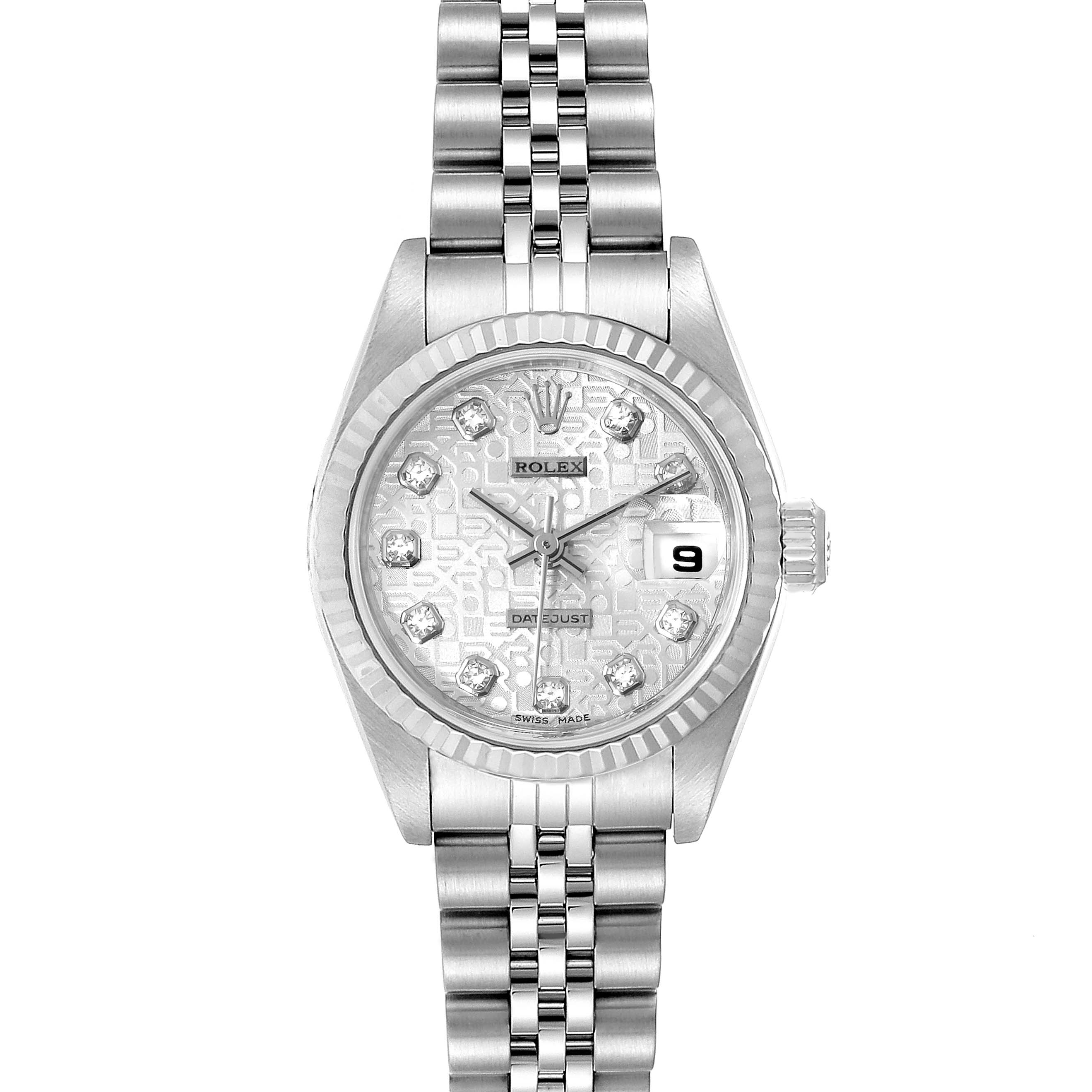 Photo of Rolex Datejust Steel White Gold Silver Diamond Dial Ladies Watch 79174