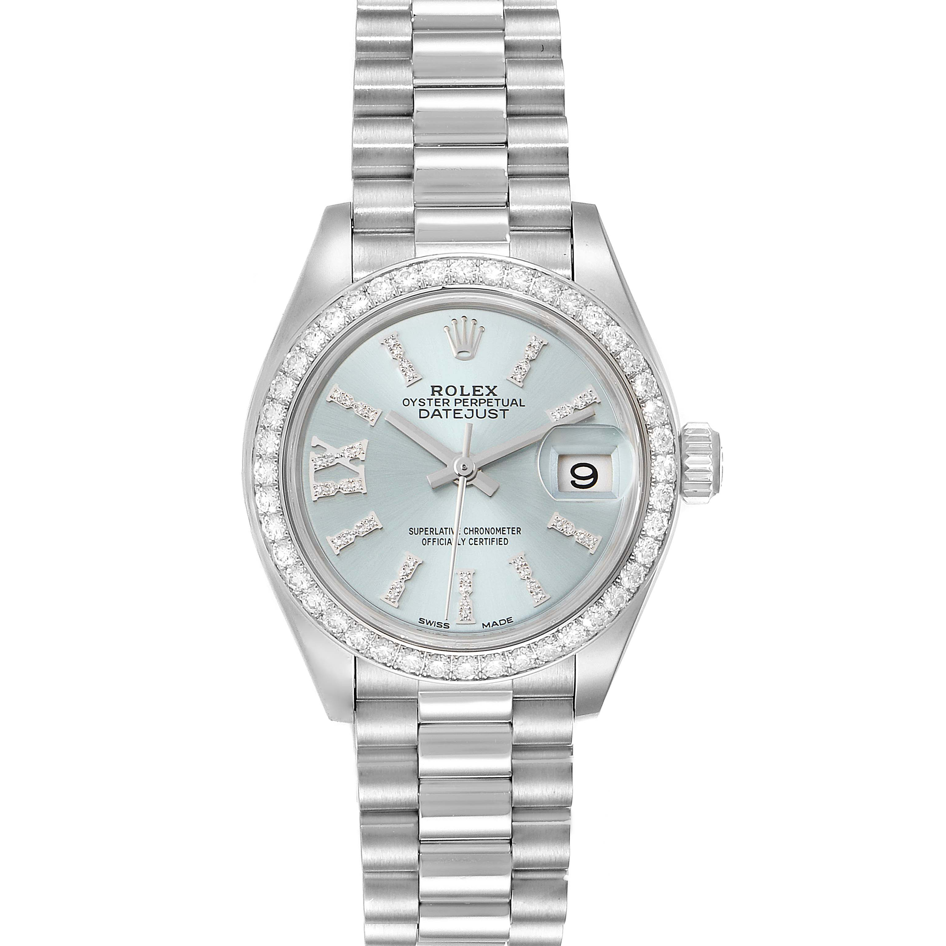 Photo of Rolex President Ice Blue Dial Platinum Diamond Ladies Watch 279136 Box Card