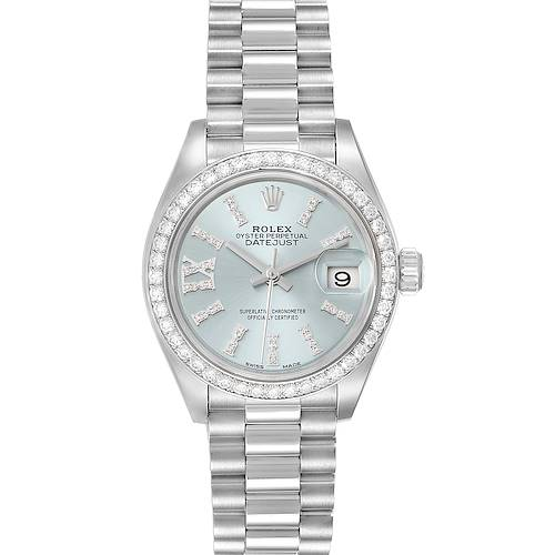 Photo of Rolex President Ice Blue Dial Platinum Diamond Ladies Watch 279136 Box Card