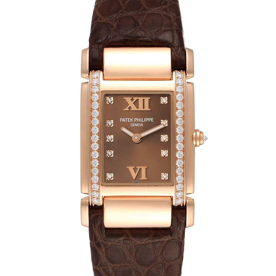 Patek Philippe Twenty-4 Rose Gold Brown Diamond Dial Ladies Watch 4920 SwissWatchExpo