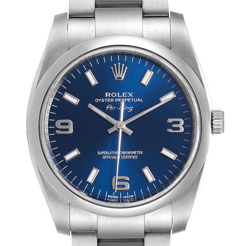 Rolex Air King 34 Blue Dial Smooth Bezel Unisex Watch 114200 SwissWatchExpo