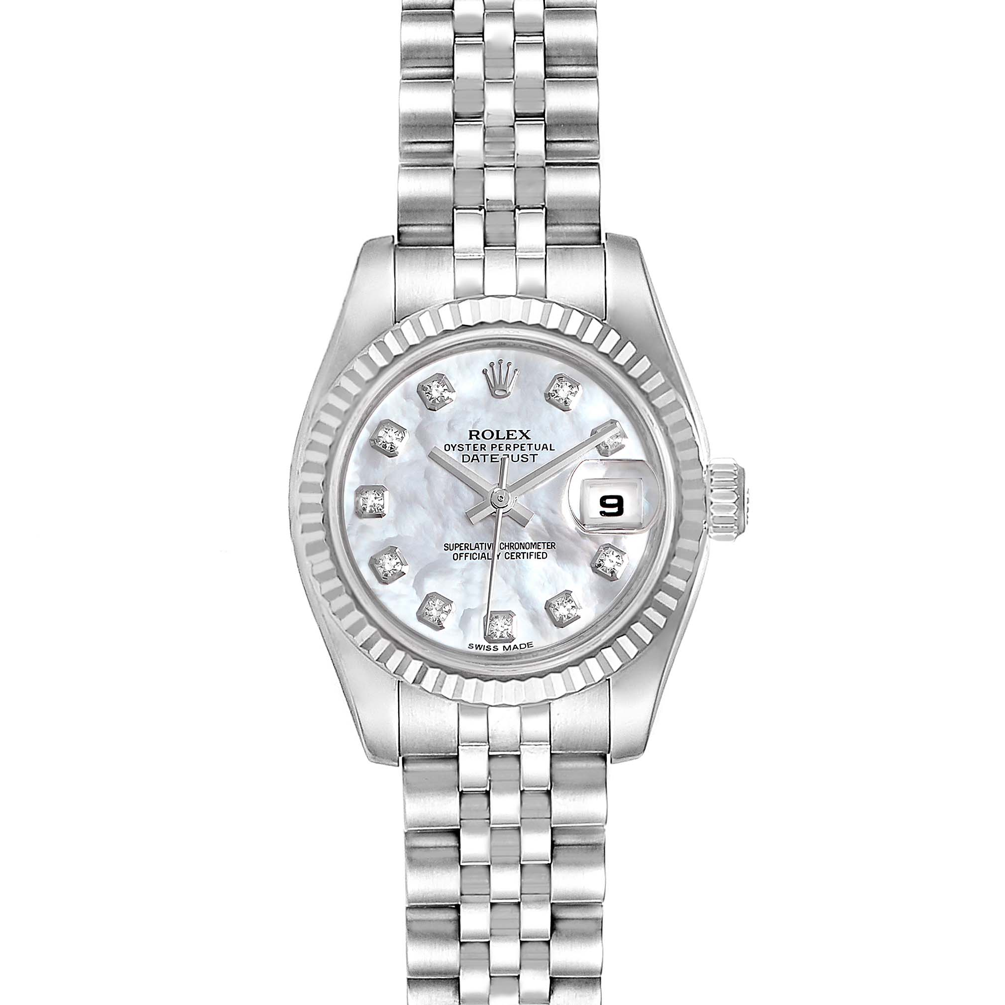 Photo of Rolex Datejust Steel White Gold MOP Diamond Ladies Watch 179174 Box Card