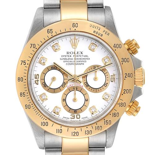 Photo of Rolex Daytona Steel Yellow Gold White Diamond Dial Mens Watch 16523