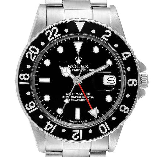 Photo of Rolex GMT Master Black Dial Bezel Vintage Steel Mens Watch 16750 ADD BOX