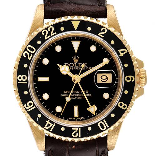 Photo of Rolex GMT Master II 18K Yellow Gold Black Dial Mens Watch 16718