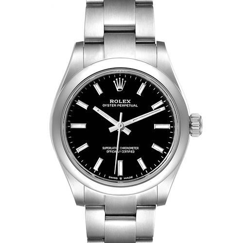Photo of Rolex Midsize 31mm Black Dial Automatic Steel Ladies Watch 277200 Unworn