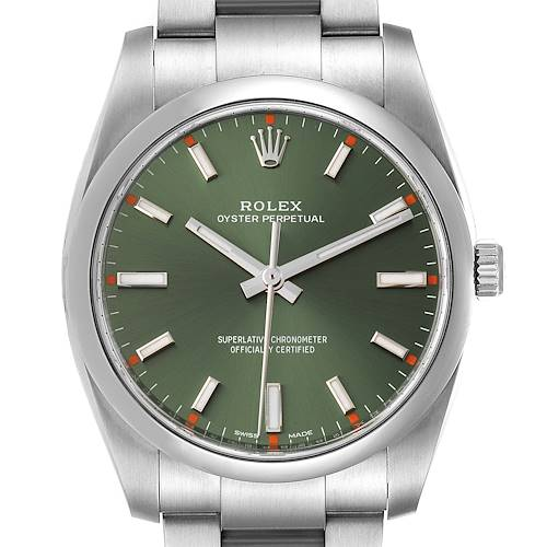 Photo of Rolex Oyster Perpetual 34mm Olive Green Dial Steel Watch 114200 Box Card