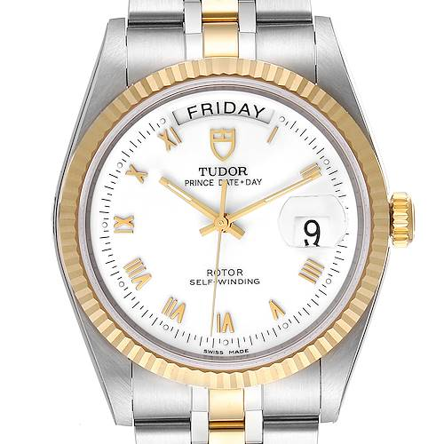 Photo of Tudor Day Date White Dial Steel Yellow Gold Mens Watch 76213 Unworn