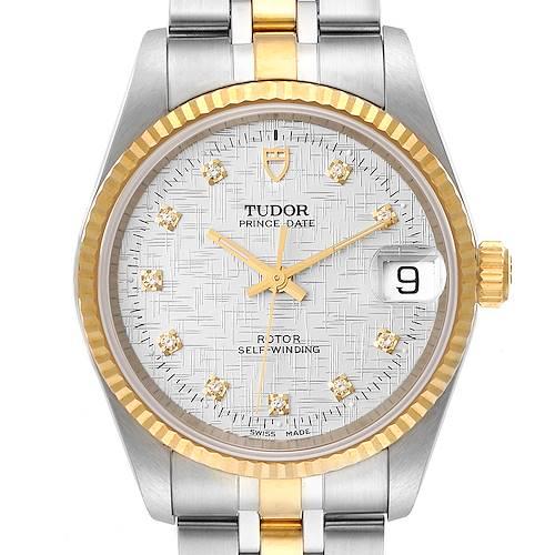 Photo of Tudor Prince Date Steel Yellow Gold Diamond Mens Watch 72033 Unworn