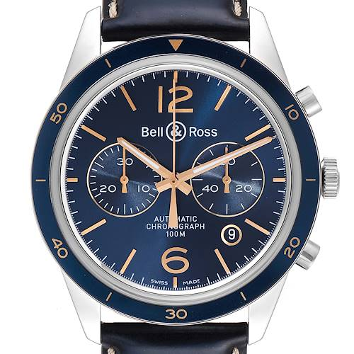 Photo of Bell & Ross Heritage Blue Dial Chronograph Steel Watch BR12694 Box Card