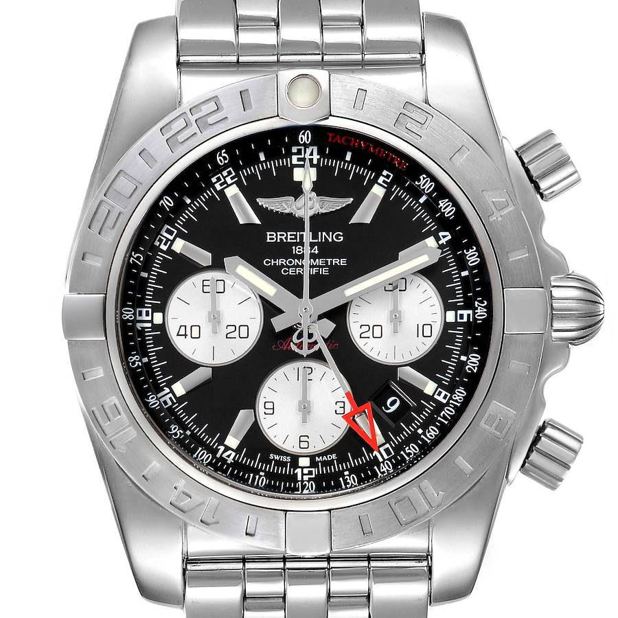 Breitling Chronomat Evolution 44 GMT Steel Mens Watch AB0420 Box Papers SwissWatchExpo