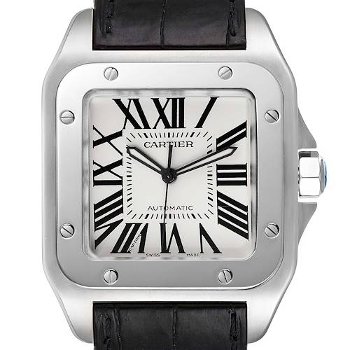 Photo of Cartier Santos 100 Silver Dial Black Strap Steel Mens Watch W20073X8