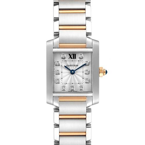 Photo of Cartier Tank Francaise Steel Rose Gold Diamond Ladies Watch WE110004