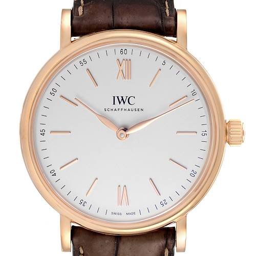 Photo of IWC Portofino 18k Rose Gold Silver Dial Brown Strap Mens Watch IW511101