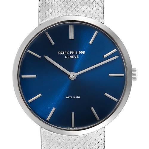 Photo of Patek Philippe Calatrava White Gold Blue Dial Vintage Mens Watch 3468