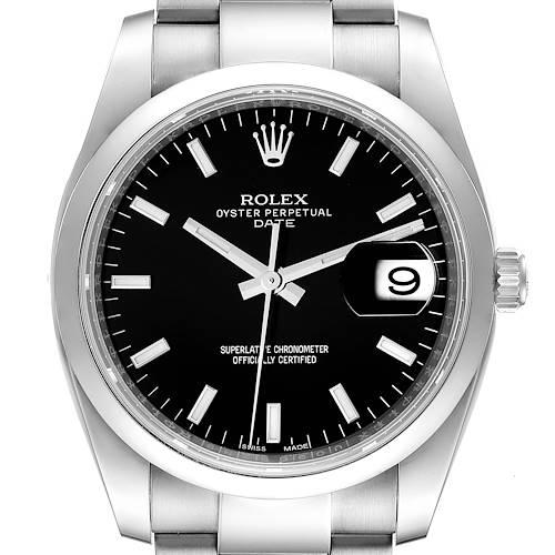 Photo of Rolex Date Black Dial Oyster Bracelet Steel Mens Watch 115200 Unworn