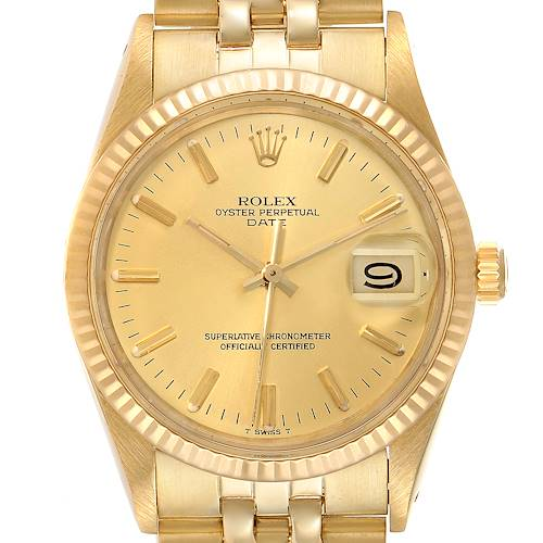 Photo of Rolex Date Mens 14k Yellow Gold Champagne Dial Vintage Mens Watch 15007