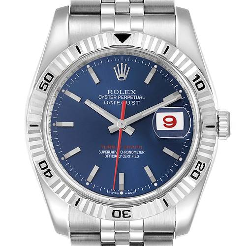 Photo of Rolex Datejust Turnograph Blue Dial Steel Mens Watch 116264