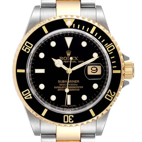 Photo of Rolex Submariner Black Dial Steel Yellow Gold Mens Watch 16613 Box Card