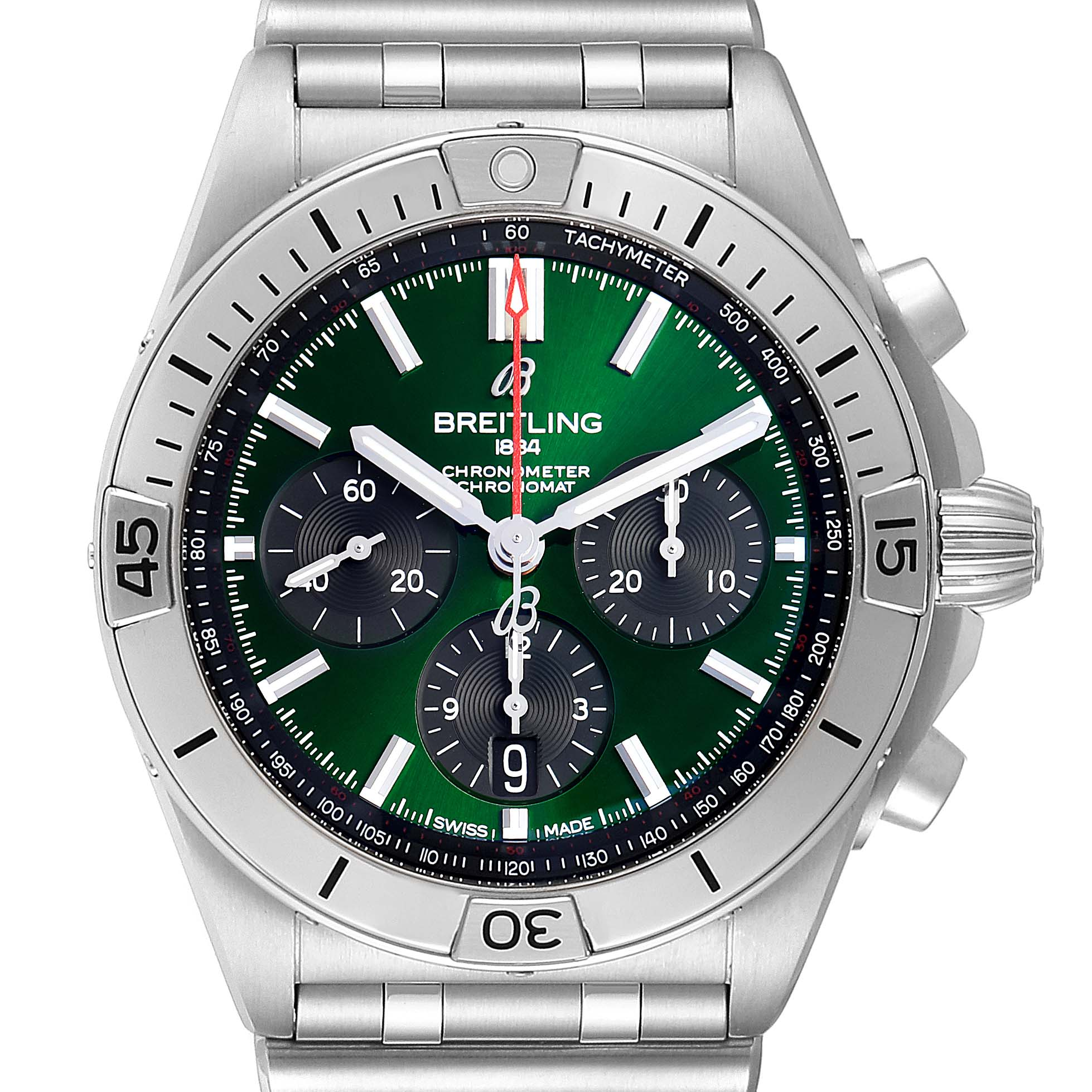 Photo of Breitling Chronomat B01 Green Dial Steel Mens Watch AB0134 Box Papers