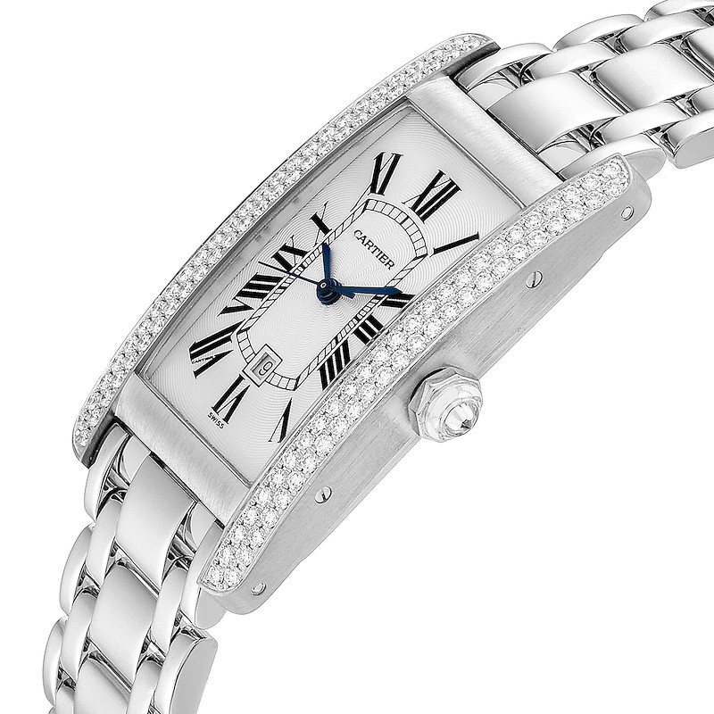 Cartier Tank Americaine Midsize 18K White Gold Diamond Watch 1726 SwissWatchExpo