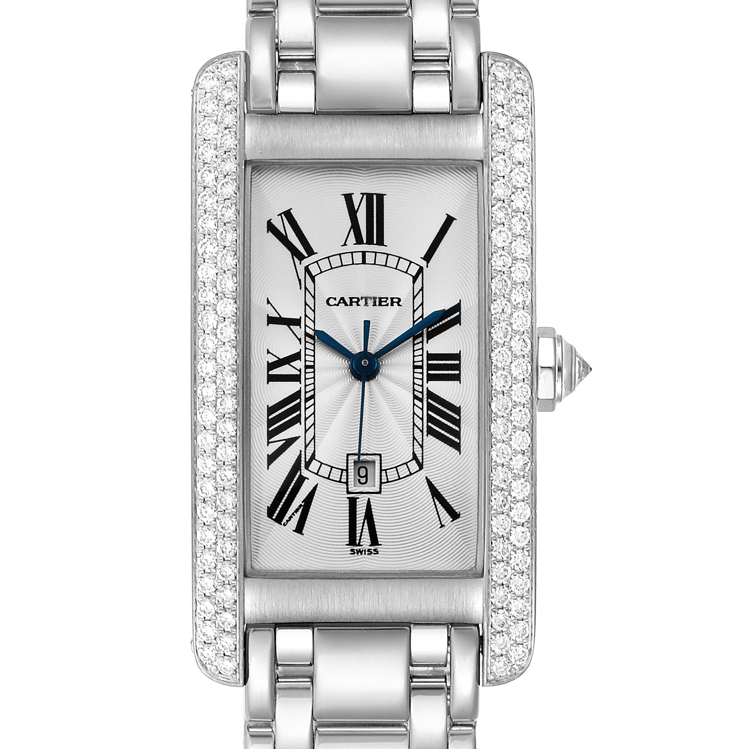 Photo of Cartier Tank Americaine Midsize 18K White Gold Diamond Watch 1726