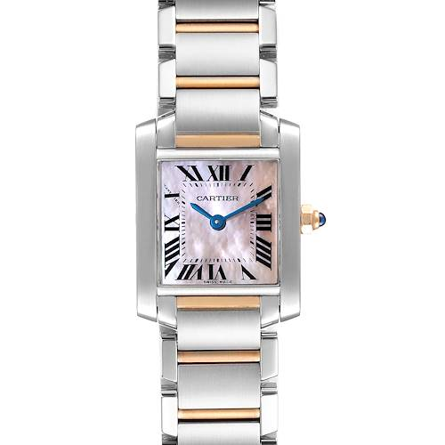 Photo of Cartier Tank Francaise Steel Rose Gold Mother of Pearl Watch W51027Q4 Box Card