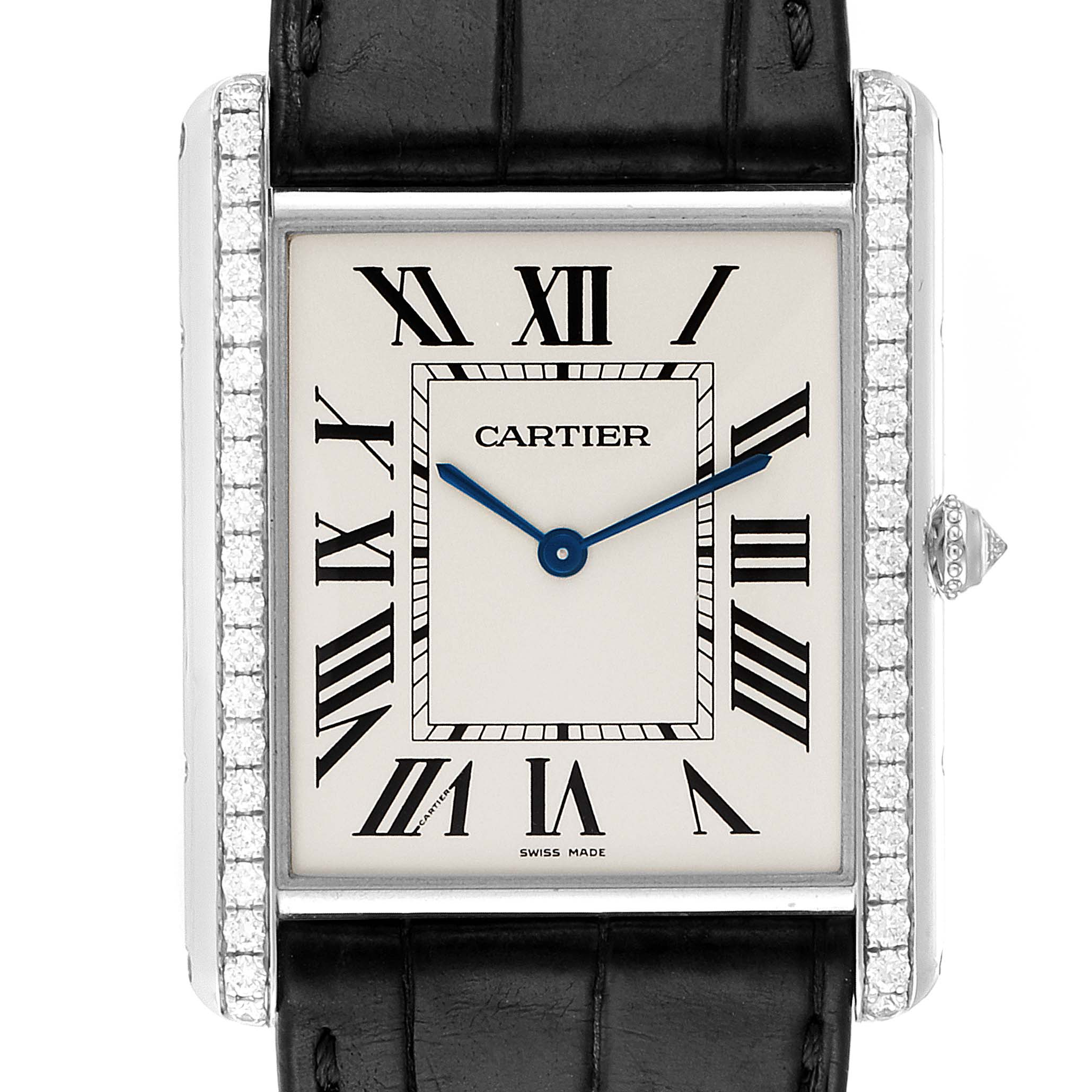 Photo of Cartier Tank Louis XL White Gold Diamond Mens Watch WT200006 Box Papers