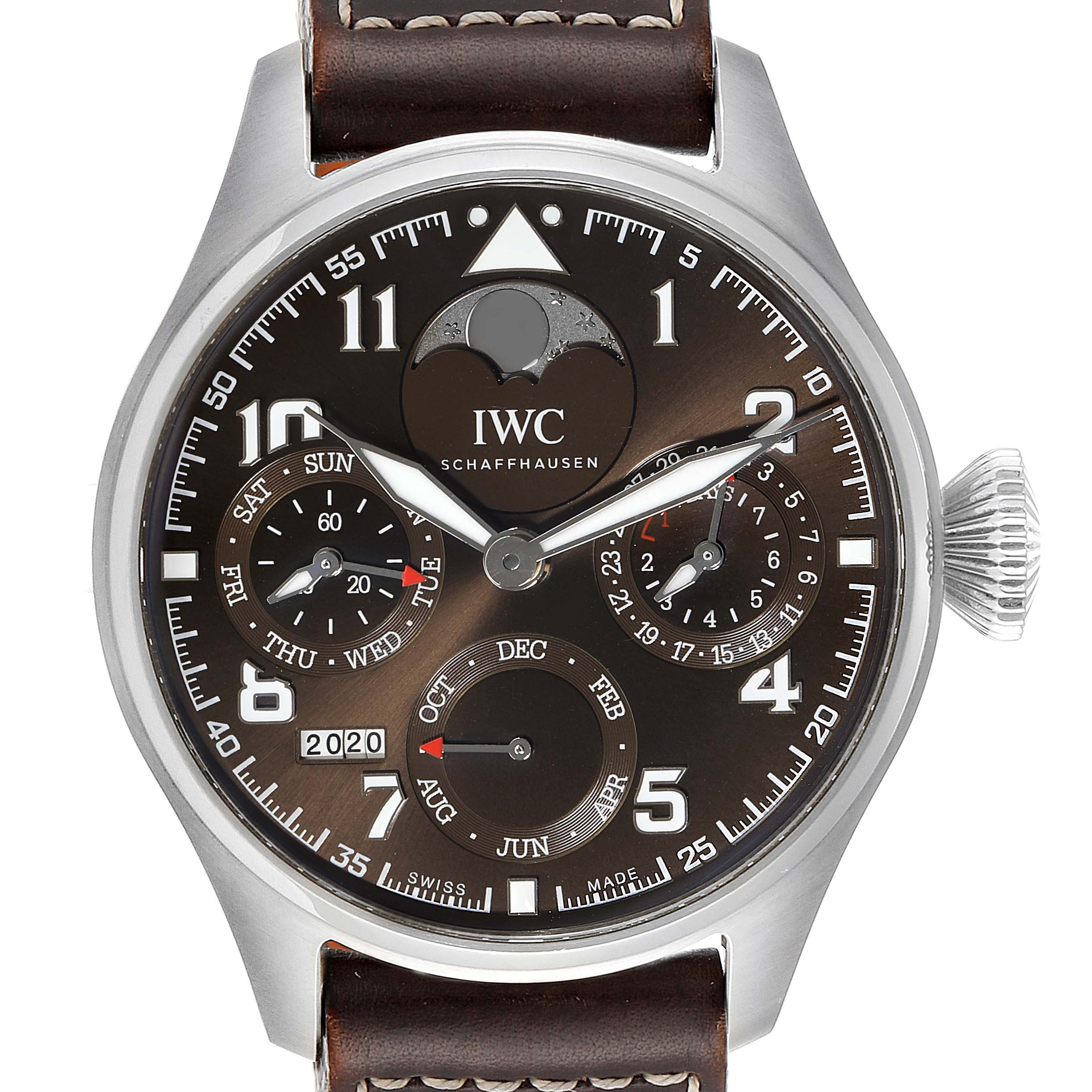 Photo of IWC Big Pilot Prepetual Calendar Brown Dial Mens Watch IW503801 Box Card
