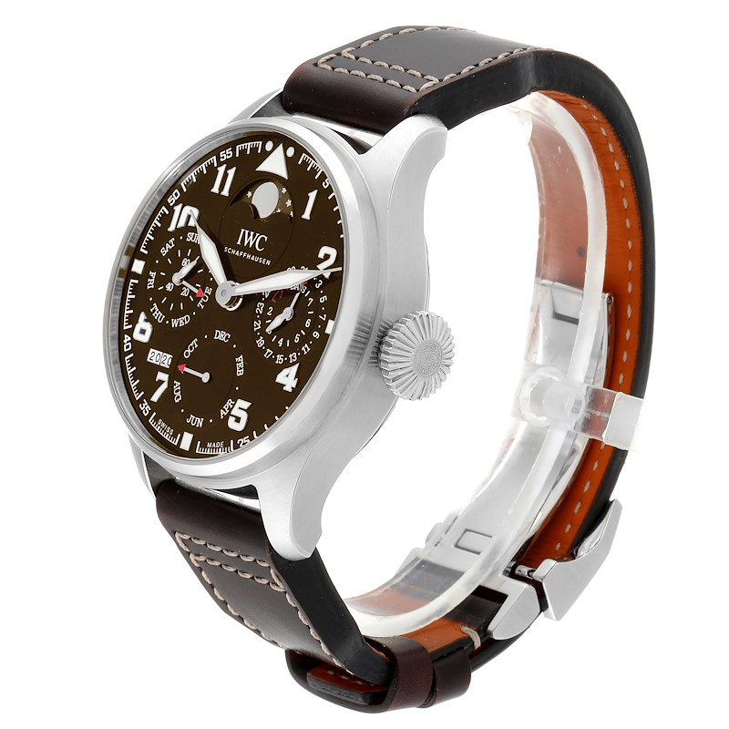 IWC Big Pilot Prepetual Calendar Brown Dial Mens Watch IW503801 Box Card SwissWatchExpo