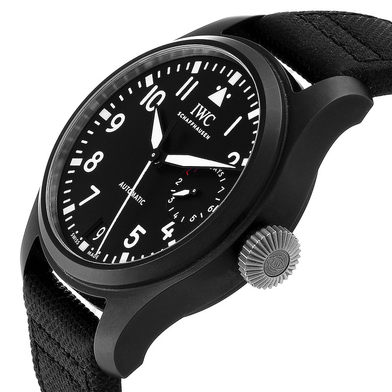 IWC Big Pilot Top Gun Black Ceramic Mens Watch IW502001 Box Card SwissWatchExpo