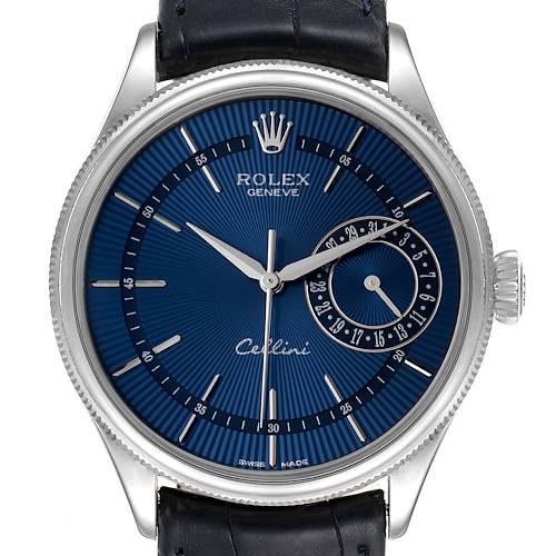 Photo of Rolex Cellini Date 18K White Gold Blue Dial Mens Watch 50519
