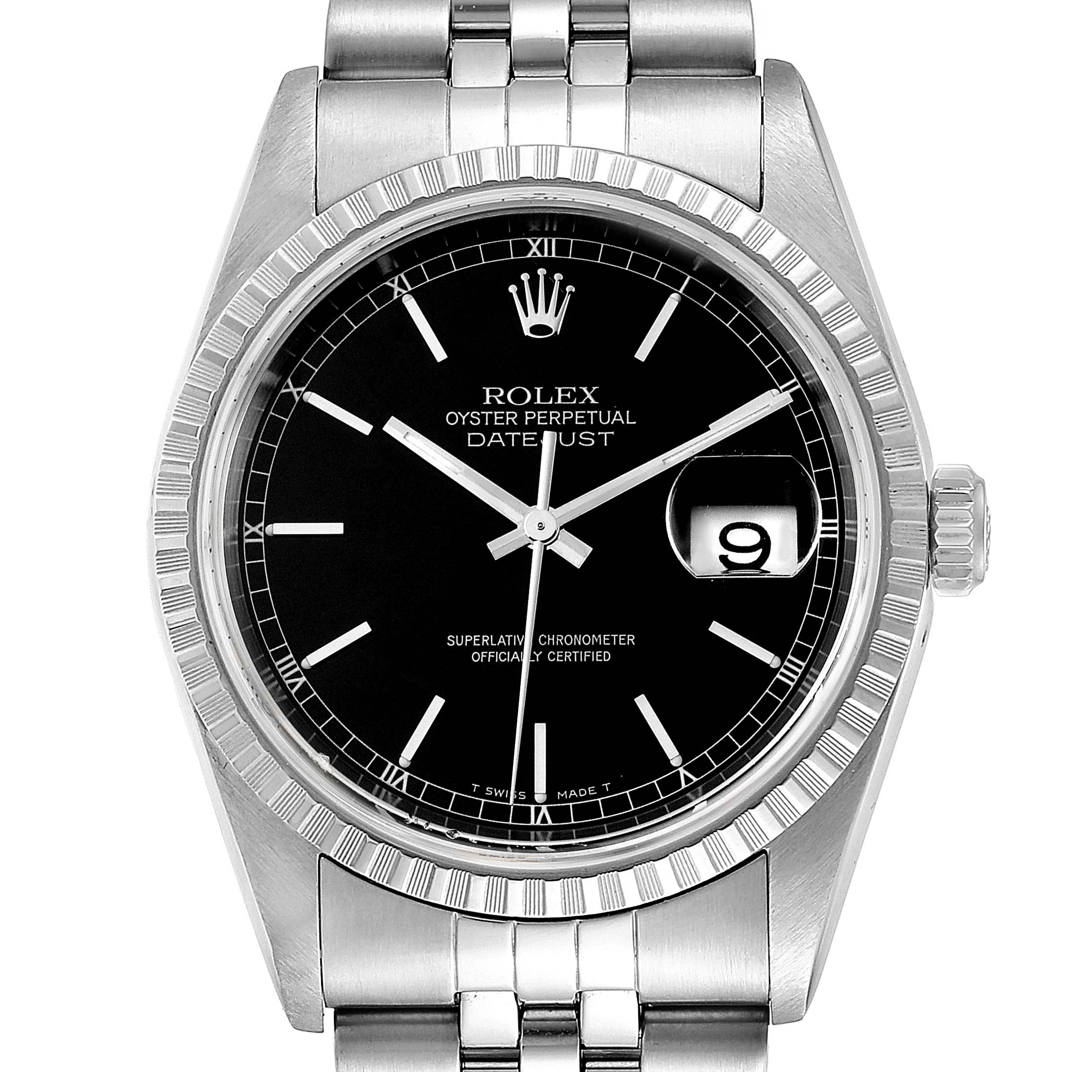 Photo of Rolex Datejust 36mm Black Dial Jubilee Bracelet Steel Mens Watch 16220