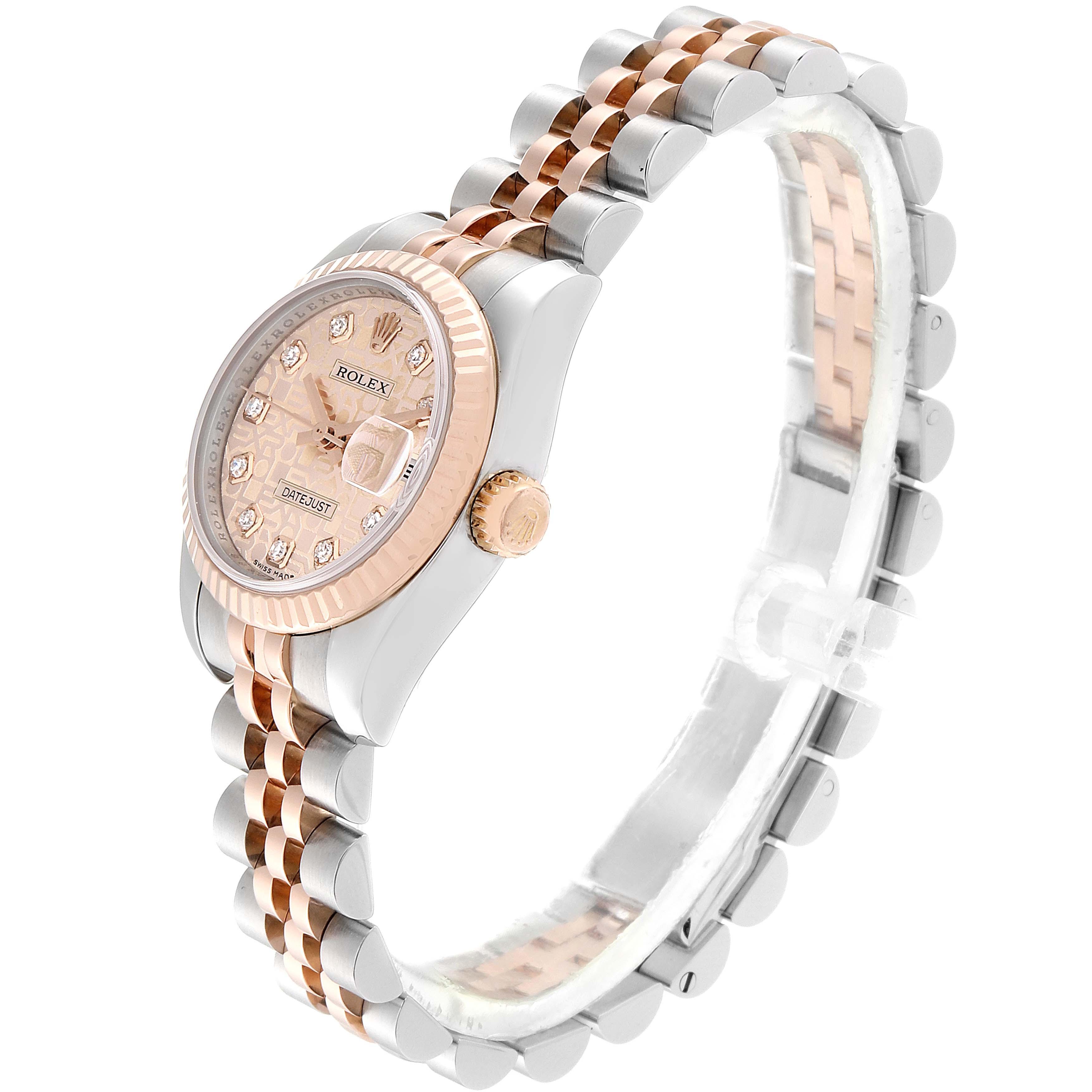 Rolex Datejust EveRose Gold Steel Diamond Ladies Watch 179171 Box Papers SwissWatchExpo