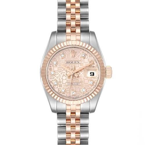 Photo of Rolex Datejust EveRose Gold Steel Diamond Ladies Watch 179171 Box Papers